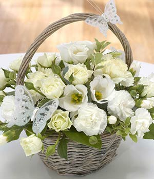 all white flower basket with roses carnations and