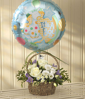 flower basket delivered by florist for new baby ro