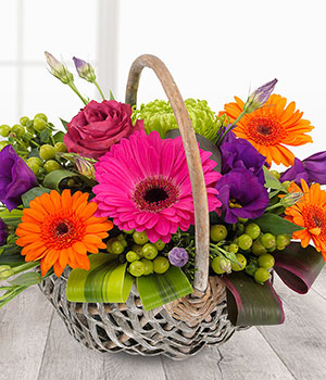 vibrant flower basket cerise orange purple lime ge
