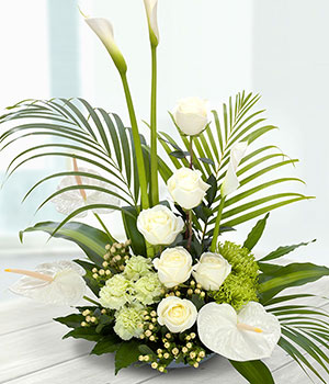 flowers container arrangement of white roses arum
