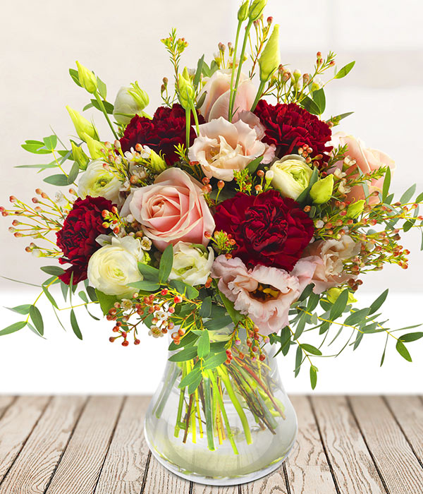 Fabulous a pink and burgundy bouquet Florist delivered