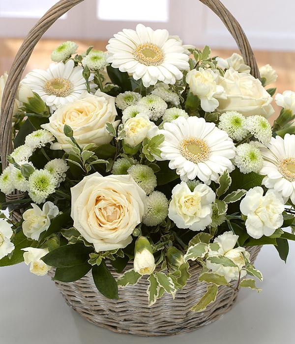 Memories flower basket white flower basket delivered memories flower basket mightylinksfo