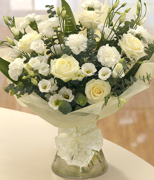 pure white flower vase arrangement delivery with w