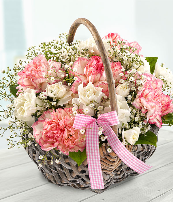 mother's day flower basket with pink and white car