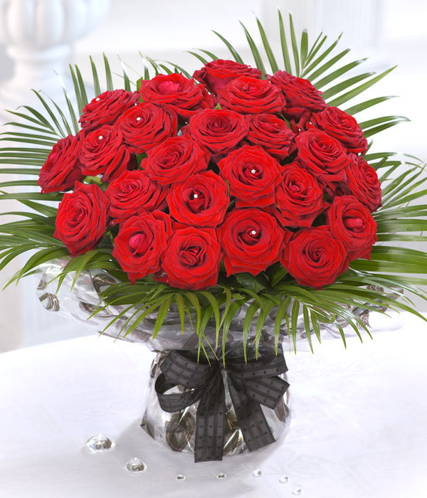 magnificent aquapack of 24 red roses with diamante